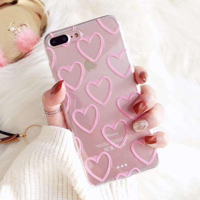 Pink Love Heart iPhone Case