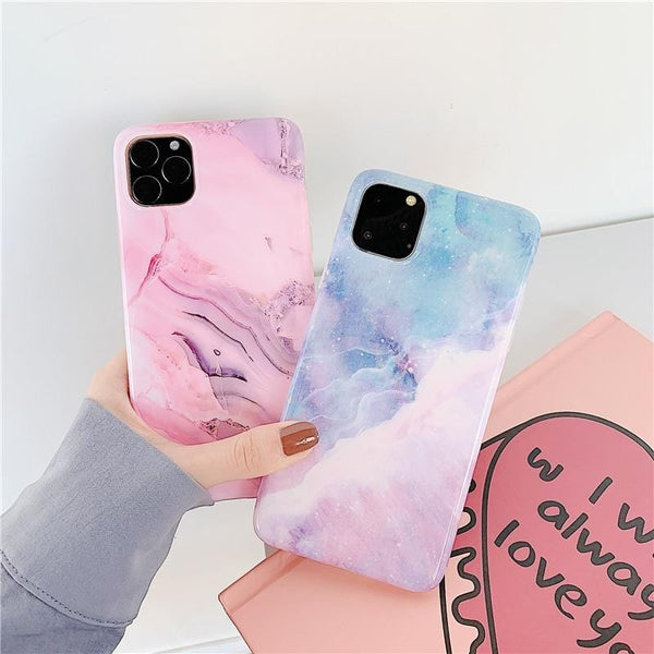 Purple Pink Marble iPhone Case