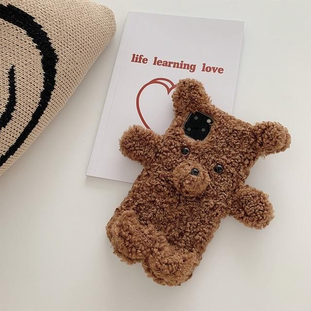 3D Cartoon Plush Bear iPhone Case