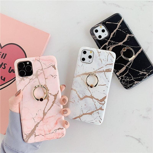 Ring Stand Marble iPhone Case
