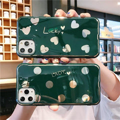 Midnight Green Love Heart iPhone Case