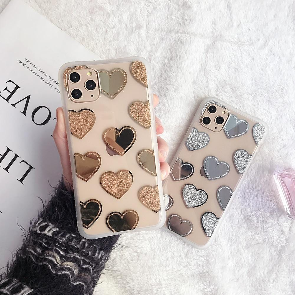 Electroplated Mirror Love Heart iPhone Case