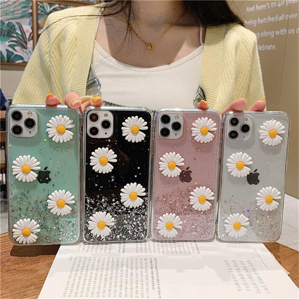 Bling Glitter Daisy Flowers iPhone Case