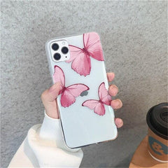 Pink Butterfly Transparent iPhone Case