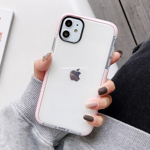 Solid Color Clear Shockproof iPhone Case