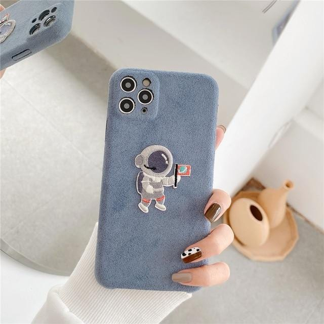 Suede Cartoon Astronaut iPhone Case