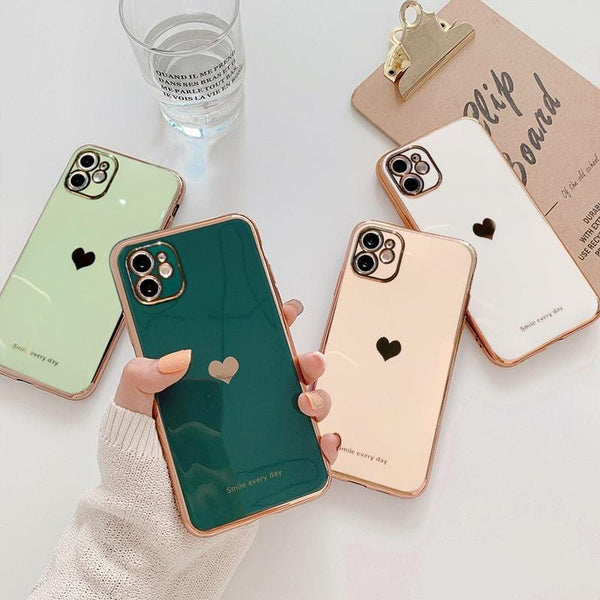 Protective Electroplated Love Heart iPhone Case