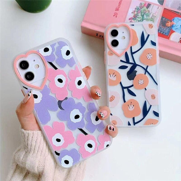 Cute Love Heart Flowers iPhone Case
