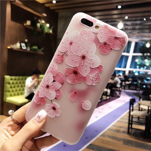 3D Relief Flower Flamingo Leaf iPhone Case