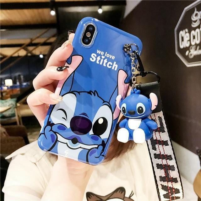 Stitch Mini Pooh Lanyard iPhone Case