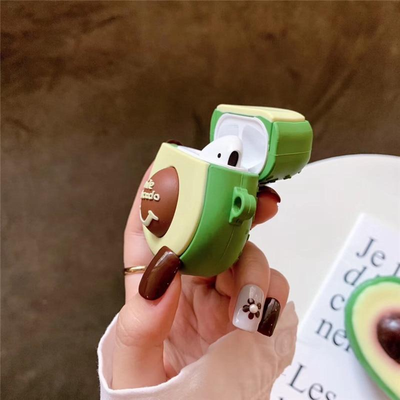 3D Smiley Avocado Apple Airpods Case