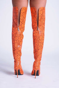 Venom Thigh High Boot - Orange - Shoe Love True Love
