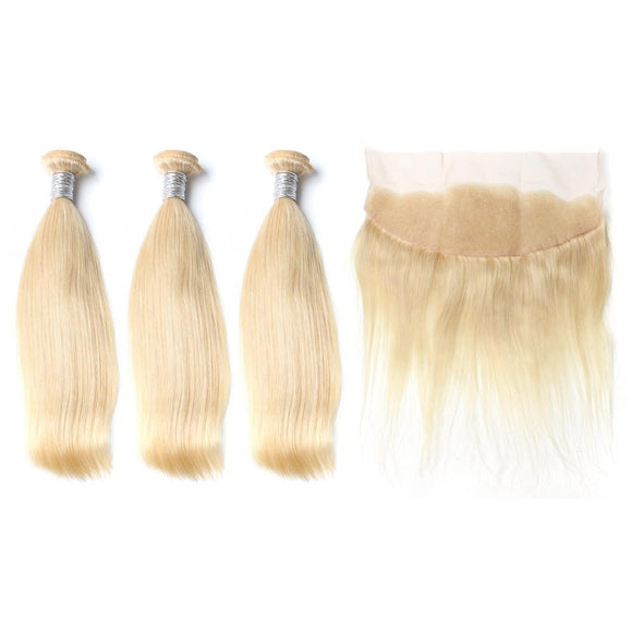 Lot de 3 Tissages + 1 Lace Frontal - lisses - Blonde #613 Silky Straight hair