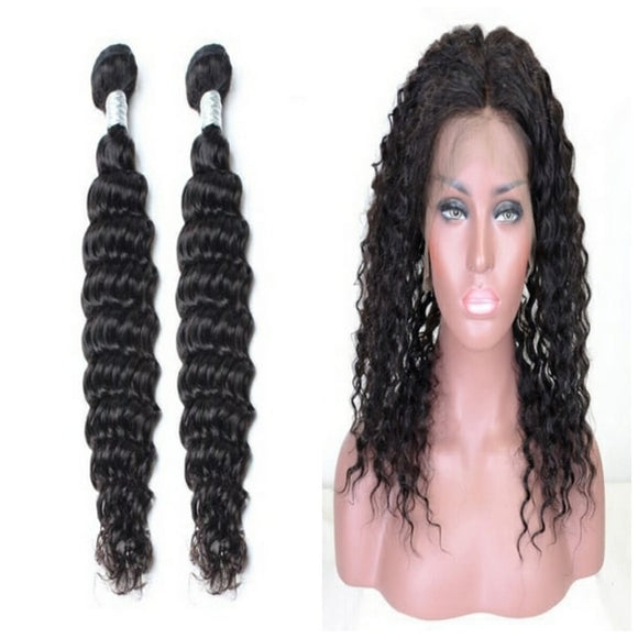 lot de 2 tissage bresilien ondulé 360 lace frontal black deep wave naylisshairparis-min