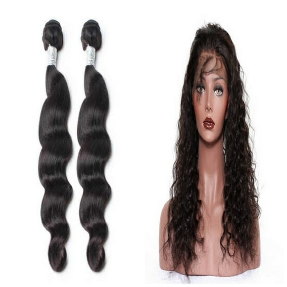 lot de 2 tissage bresilien ondulé 360 lace frontal black loose wave naylisshairparis-min