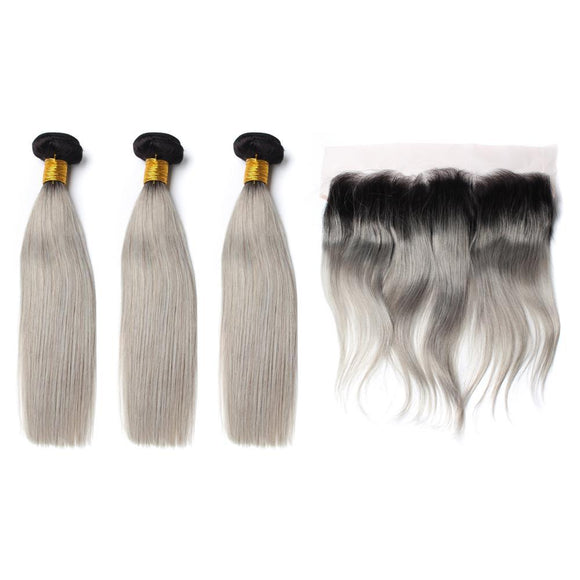 lot de 3 tissage bresilien lisse gris 1b lace frontal silky straight hair naylisshairparis