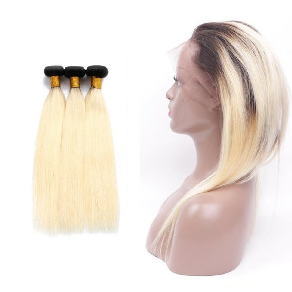 lot de 3 tissages bresiliens lisses lace frontale blonde 1b 613 silky straight naylisshairparis 1