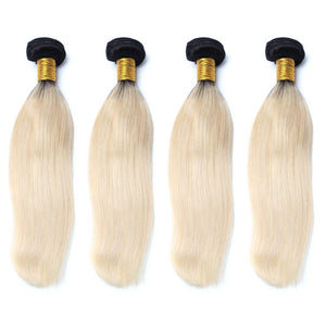lot de 4 tissages bresiliens lisses 1b blonde 613 silky straight hair naylisshairparis