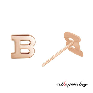 14k Yellow Gold Initial Earrings