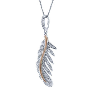 14k Two-tone R/g Diamond Feather Pendant - 0.35ct