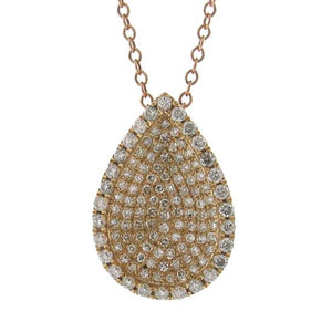 14k Rose Gold Diamond Pave Pendant - 0.55ct