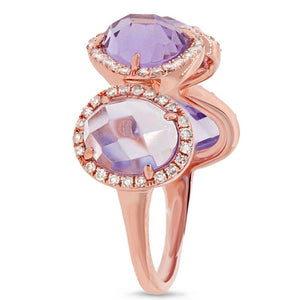 Diamond & 3.47ct Amethyst 14k Rose Gold Ring - 0.27ct
