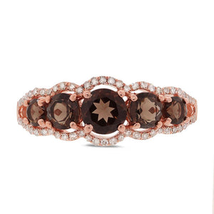 Diamond & 1.11ct Smokey Topaz 14k Rose Gold Ring - 0.17ct