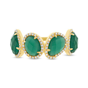 Diamond & 3.80ct Green Agate 14k Yellow Gold Ring - 0.27ct