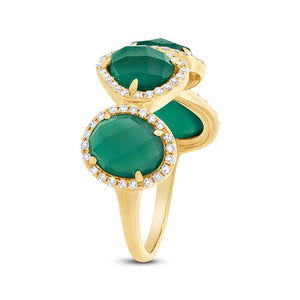 Diamond & 3.80ct Green Agate 14k Yellow Gold Ring Size 6 - 0.27ct