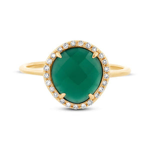 Diamond & 1.95ct Green Agate 14k Yellow Gold Ring - 0.13ct