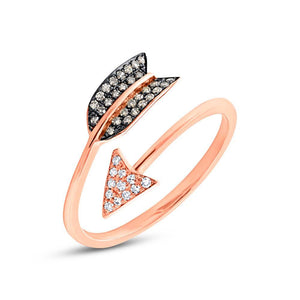 14k Rose Gold White & Champagne Diamond Arrow Ring Size 4.5 - 0.17ct