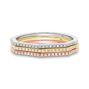 14k Three-tone Gold Diamond Lady's Ring 3-pc Size 4.5 - 0.21ct