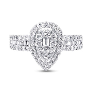 18k White Gold Diamond Lady's Ring - 1.10ct