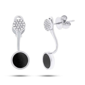 Diamond & 0.80ct Onyx 14k White Gold Earring Jacket with Stud