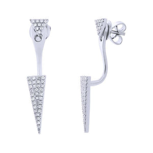 14k White Gold Diamond Pave Triangle Ear Jacket Earring with Studs