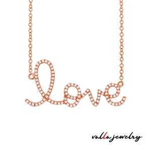 14k Rose Gold Diamond ''Love'' Necklace - 0.21ct