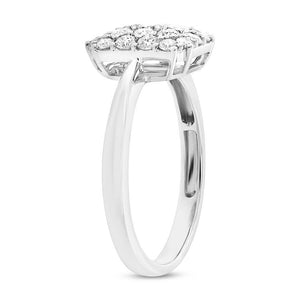 18k White Gold Diamond Pave Lady's Ring - 0.75ct