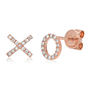 "14k Rose Gold Diamond ""XO"" Stud Earring"