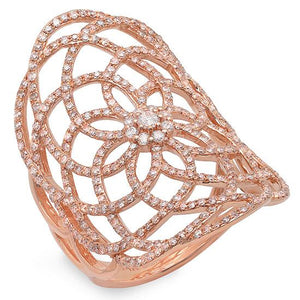14k Rose Gold Diamond Lace Lady's Ring - 1.22ct