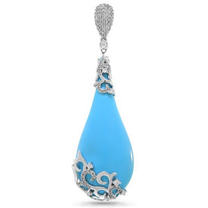 Diamond & 31.21ct Composite Turquoise 14k White Gold Pendant - 0.63ct
