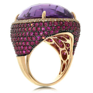 Diamond & 29.34ct Amethyst & Pink Sapphire 14k Rose Gold Ring - 0.59ct
