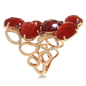 Diamond & 13.94ct Red Agate & Ruby 14k Rose Gold Ring - 0.29ct