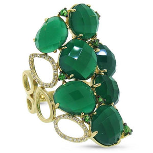 Diamond & 13.33ct Green Agate & Green Garnet 14k Yellow Gold Ring - 0.29ct