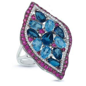 Diamond & 7.71ct Blue & London Blue Topaz & Pink Sapphire 14k White Gold Ring - 0.30ct