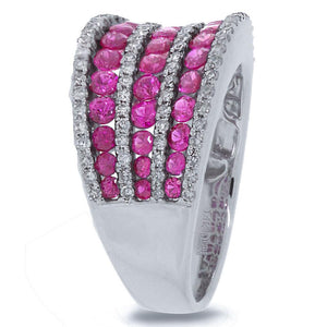 Diamond & 1.79ct Pink Sapphire 14k White Gold Ring - 0.48ct