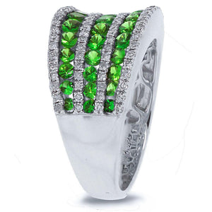 Diamond & 1.67ct Green Garnet 14k White Gold Ring - 0.48ct