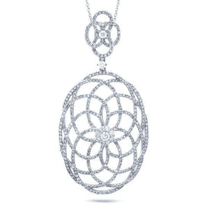 14k White Gold Diamond Lace Pendant - 1.46ct