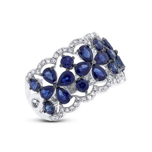 Diamond & 3.46ct Blue Sapphire 14k White Gold Ring Size 6.5 - 0.36ct
