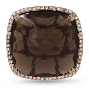 Diamond & 16.79ct Smokey Topaz 14k Rose Gold Ring - 0.25ct