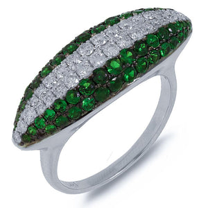Diamond & 1.41ct Green Garnet 14k White Gold Ring - 0.57ct